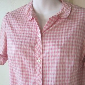 White/Pink Check Nylon '60s Short-Sleeve Button Up